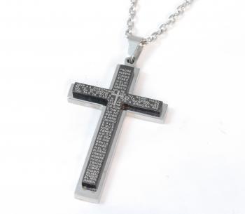 ステンレスネックレス クロス 聖書 ブラック 50cm SLA-003