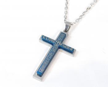 ステンレスネックレス クロス 聖書 ブルー 50cm SLA-004