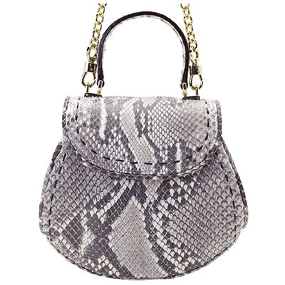 ダイヤモンドパイソンハンドバッグ ホワイト/グレー