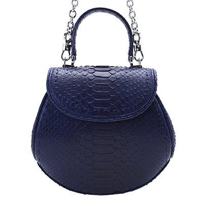 ダイヤモンドパイソンハンドバッグ 藍染ネイビー