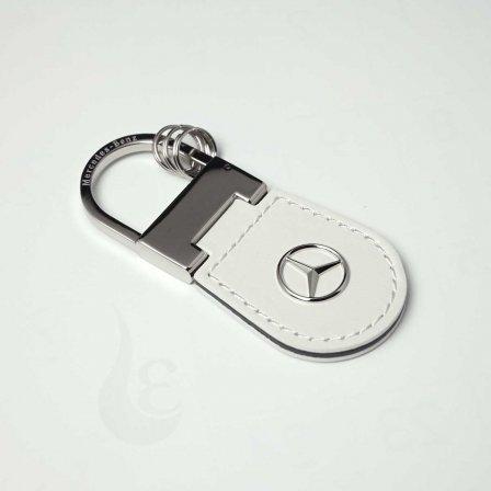 メルセデスベンツ Mercedes Benz 牛革キーホルダー/ホワイト