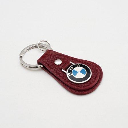 BMW ビーエムダブリュー レザーティアドロップ キーホルダー/レッド
