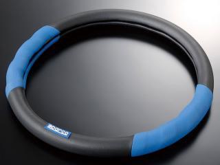 スパルココルサ ステアリングカバー レザー Sサイズ ブルー