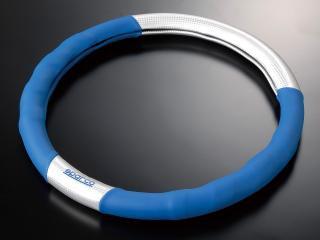 スパルコSPC ステアリングカバー カーボン Mサイズ ブルー