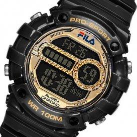 フィラ FILA クオーツ デジタル レディース 腕時計 38-099-004 ブラック×ゴールド