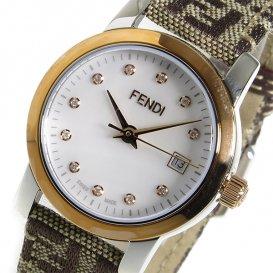 フェンディ ラウンドクラシコ クオーツ レディース 腕時計 F218242DF パール