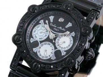 ドルチェ メディオ DOLCE MEDIO 天然ダイヤ 腕時計 DM10017QZ-BKBK/BK