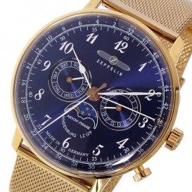 ツェッペリン ZEPPELIN ヒンデンブルク クオーツ メンズ 腕時計 7038M-3 ネイビー/ピンクゴールド