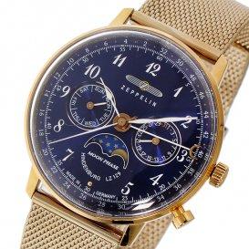 ツェッペリン ZEPPELIN ヒンデンブルク クオーツ ユニセックス 腕時計 7039M-3 ネイビー/ピンクゴールド
