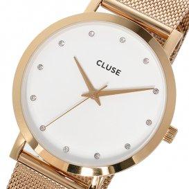 クルース CLUSE ラ・ボエーム メッシュベルト 38mm レディース 腕時計 CL18303 ホワイト/ローズゴールド