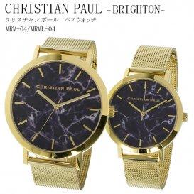 クリスチャンポール CHRISTIAN PAUL ブラックマーブル文字盤 ゴールド メッシュバンド ペアウォッチ BRIGHTON MRM-04/MRML-0…