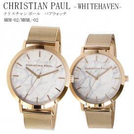 クリスチャンポール CHRISTIAN PAUL ホワイトマーブル文字盤 ローズゴールド メッシュバンド WHITEHAVEN ペアウォッチ MRM-02/MRML-…