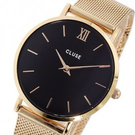 クルース CLUSE ミニュイ メッシュベルト 33mm レディース 腕時計 CL30016 ブラック/ローズゴールド