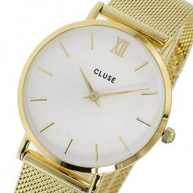 クルース CLUSE ミニュイ メッシュベルト 33mm レディース 腕時計 CL30010 ホワイト/ゴールド
