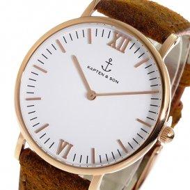 キャプテン&サン KAPTEN&SON 36mm クオーツ レディース 腕時計 GD-KS36WHBRV ホワイト/ピンクゴー…