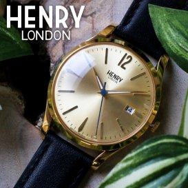 ヘンリーロンドン HENRY LONDON ウェストミンスター 39mm ユニセックス 腕時計 HL39-S-0006 ゴールド/ブラ…