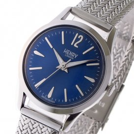 ヘンリーロンドン HENRY LONDON ナイツブリッジ KNIGHTSBRIDGE 25mm メッシュ レディース 腕時計 HL25-M-0109 ブルー/シル…