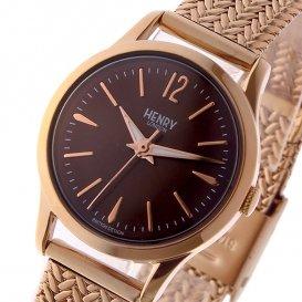 ヘンリーロンドン HENRY LONDON ハーロー HARROW 25mm メッシュ レディース 腕時計 HL25-M-0044 ブラウン/ピンクゴー…