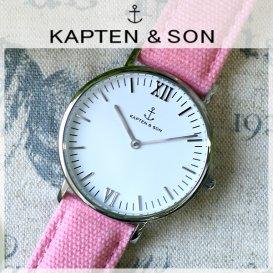 キャプテン&サン KAPTEN&SON 36mm ホワイト/ピンクキャンバス レディース 腕時計 SV-KS36WHPC