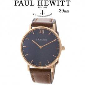 ポールヒューイット Sailor Line 39mm ユニセックス 腕時計 6451040 PHSARSTB1S ブルーラグーン/ブラウン