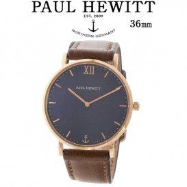 ポールヒューイット Sailor Line 36mm ユニセックス 腕時計 6451042 PHSARSMB1S ブルーラグーン/ブラウン