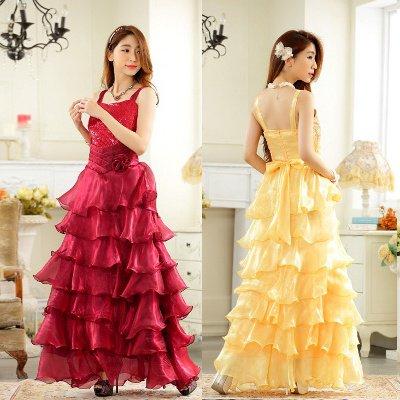 大きいサイズ☆胸元スパンコール♪贅沢フリルロングドレス