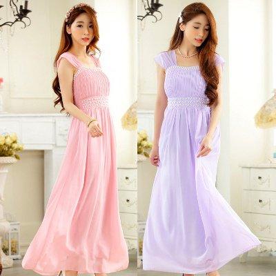 大きいサイズ☆贅沢ビジュー♪胸元プリーツロングドレス
