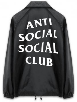 <strong>ANTI SOCIAL SOCIAL CLUB</strong>NEVER GONNA GIVE YOU UP COACH JACKET<br>BLACK
