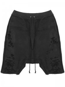 <strong>Physical Novel</strong>DISTRESSED DROPCROTCH SHORTS<br>BLACK