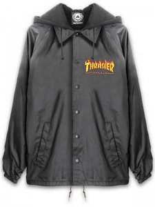 <strong>THRASHER</strong>FLAME LOGO COACH JACKET WITH FLEECE HOODIE<br >BLACK