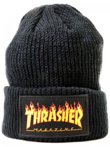 <strong>THRASHER</strong>FLAME LOGO BEANIE<br >BLACK