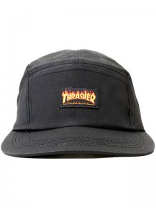<strong>THRASHER</strong>FLAME LOGO 5-PANEL CAMP CAP<br >BLACK