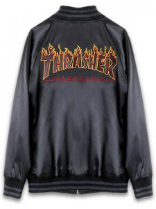 <strong>THRASHER</strong>FLAME LOGO SOUVENIR JACKET<br >BLACK