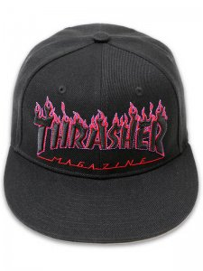 <strong>THRASHER</strong>FLAME LOGO CAP<br >BLACK / PURPLE