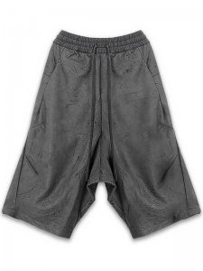 <strong>by H. New York</strong>EZ+ DISTRESSED LEATHER DROP CROTCH SHORTS<br >BLACK