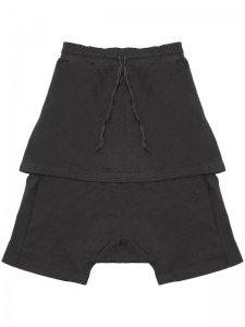<strong>by H. New York</strong>TAURUS DROP CLOTCH LAYERED SHORTS<br >BLACK