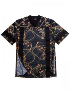 <strong>(2)THINGS</strong>AESTHETICS CHAIN REACTION MESH FOOTBALL T-SHIRT<br>BLACK