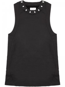 <strong>ASGER JUEL LARSEN</strong>DYSTOPIA TANK TOP WITH STUDS<br>BLACK COATED JERSEY