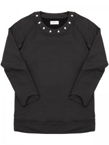 <strong>ASGER JUEL LARSEN</strong>TOXIC SWEAT SHIRT WITH STUDS<br>BLACK COATED JERSEY