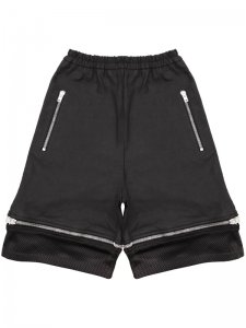 ASGER JUEL LARSEN<br>HAMMERSMITH SHORTS WITH ZIP DETAIL<br>BLACK COATED JERSEY & BLACK MESH