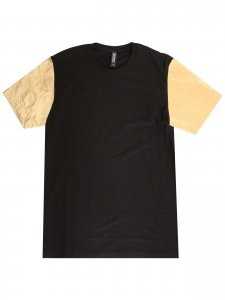 <strong>NUANCE</strong>TEE with Gold Leather Sleeves<br>BLACK × GOLD