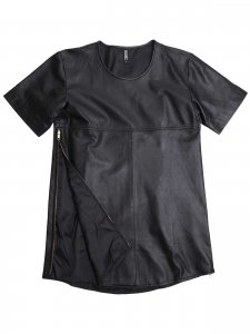 <strong>NUANCE</strong>SIDE ZIP LEATHER T-SHIRT<br>BLACK LEATHER