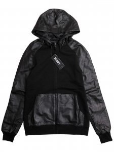 <strong>NUANCE</strong>LEATHER DETAIL HOODIE<br>BLACK