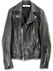 <strong>rewords/rewordsdesign</strong>AGED LEATHER MORTORCYCLE JACKET <br>BLACK