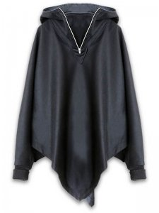 <strong>Dusty</strong>TALVI HOODED WOOL CAPE RIB CUFFS<br>BLACK