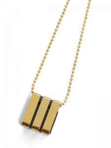 <strong>BLACK TRIANGLE DESIGN</strong>3 BARS LONG CHAIN NECKLACE<br>GOLD