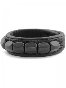 <strong>BLACK TRIANGLE DESIGN</strong>CHEVRON STUDS LEATHER BRACELET<br>BLACK