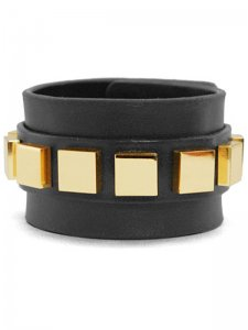 <strong>BLACK TRIANGLE DESIGN</strong>9 SQUARES LEATHER BRACELET<br>GOLD