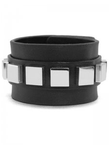 <strong>BLACK TRIANGLE DESIGN</strong>9 SQUARES LEATHER BRACELET<br>SILVER