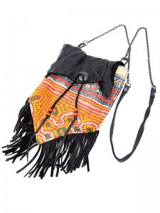 <strong>GARA</strong>HMONG FRINGE 2WAY BAG<br>MULTI BLACK
